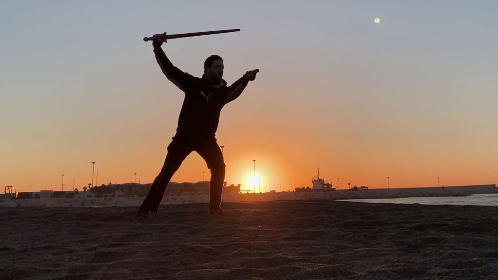 5 Section Taichi Sword in San Andres beach, Málaga